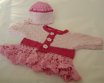 Baby-Cardigan, Cardigan knitted with first, for girls, knitted and crocheted Hat