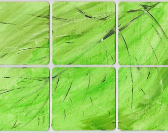 Leaf Puzzle Coasters - Set of 6 handpainted coasters