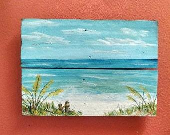 Sugar White Beaches of the Gulf Coast, Beach Painting, Gulf of Mexico painting, Beachscape, Painting on reclaimed wood