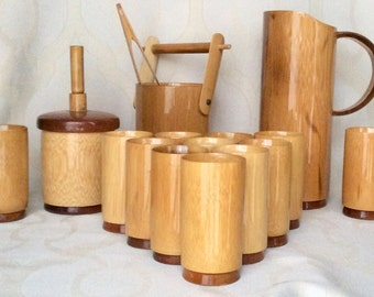 REDUCED** MCM Bamboo Pitcher, 12 Tumblers, Ice Bucket, Tongs, Server - Max Brand in Queensland, Australia