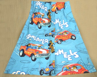 Vintage 1960-70s Curtains Racecars Hot Rod TWO panels