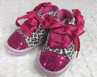 Baby shoes, toddler, toddler shoes, hand decorated, bling shoes, children's shoes, pink shoes, ribbon laces, sequins, sequins shoes, shoes