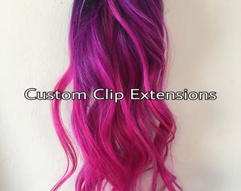 Hot Pink Magenta Clip in Hair Extensions,Magenta Hair, Pink Clip in Extensions, Human Hair, Ombre Hair, Custom Made Hair Extensions, Clipin
