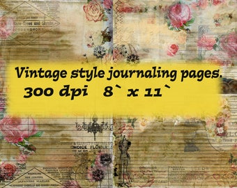 Digital vintage style journaling pages. Collage.Digital collage printable pages.Digital scrapbooking paper.