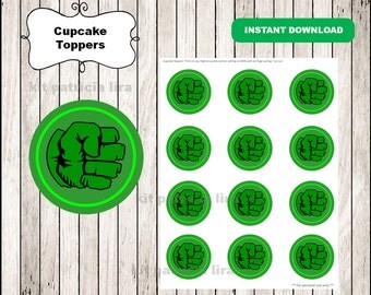 Hulk logo toppers instant download , Hulk cupcakes toppers labels, Printable Hulk toppers
