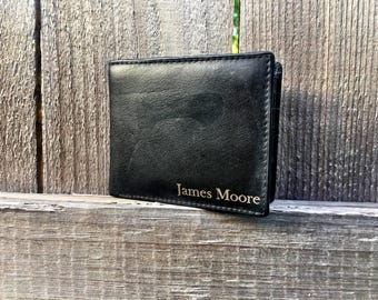 Mens Personalized Wallet, engraved wallet, custom wallet. leather wallet, anniversary gift, gift for him, fathers day gift,