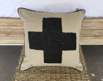 Beaded Swiss Cross Cushion Cover