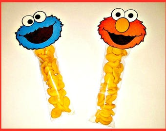 10 Sesame Street Birthday Party Favors Goldfish included! Elmo Cookie Monster