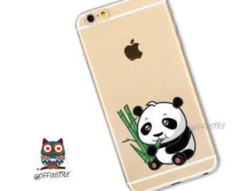 Cute Baby Panda Bear Eating Bamboo Animal Loving Print Image on Flexible Soft Clear Phone Case for iPhone 6 iPhone 7 iPhone 6s iPhone 6 Plus