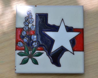 REDUCED! Handcrafted Texas Lone Star State Ceramic Art Tile Trivet