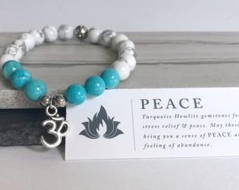Yoga gemstone bracelet, gemstone bracelet for sister, inspirational healing bracelet, ohm beaded bracelet, turquoise bracelet for women