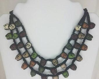 Camo crochet skull necklace- Dia de los muertos
