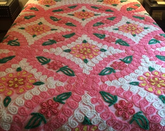 50's vintage chenille bedspread with pink flowers and sparkly detail