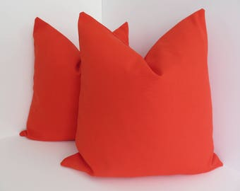 Outdoor/Indoor Pillow Covers- Decorative Pillow Covers- Red orange Outdoor Pillows- Red Orange Pillows- Outdoor Pillow Covers