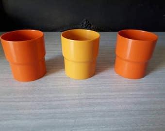 Vintage Stacking Plastic Orange Yellow Beakers