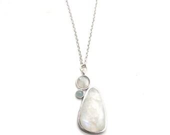 Gaea Necklace - Rhodium - Moonstone