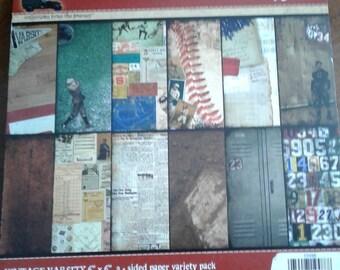 7gypsies | Vintage Varsity | 6 x 6 | 2 Sided Variety Pack | 48 Sheets