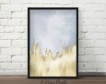Instant Download Blue Dipped Gold Abstract Painting - Gold Art Print - Art Printable - Digital Prints - Abstract - Brushed Gold Art - Prints