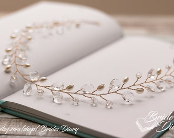 Pearls and Crystals Bridal Wreath, bohemian headband , wedding gold hair vine