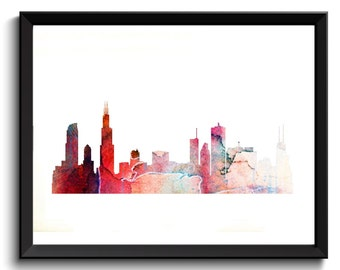 Printable Chicago Art - Chicago Illinois Art, State Art, Watercolor Chicago Art, Red/Pink, Chicago Skyline Art, Cityscape Watercolor Art