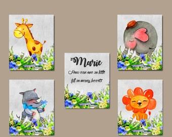 Safari Nursery Art - 5 Nursery Prints, Nursery art for baby, Kids nursery art, Elephant Nursery art, lion nursery art, hippo nursery art