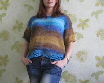 Summer sweater ,short sleeve, sweater knit, handmade , mohair acrylic , sweater mohair.