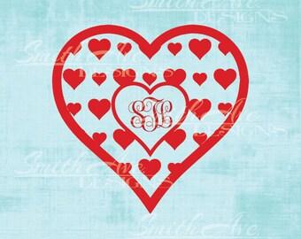 Valentine's Day Hearts Monogram Frame, SVG File, Quote Cut File, Silhouette or Cricut File, Vinyl Cut File, Monogram cut file