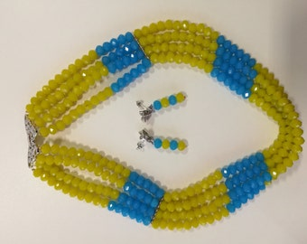 Handmade Blue and Yellow Bead Necklace and Earring set