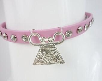 Pastel Pink Choker Spirit Lock Hmong Necklace Crystal Rivet Rhinestone Spike Chain Punk Kawaii Lolita Ethnic Tribal Street Urban Decora