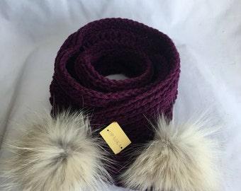 Headscarf with fur Pompom