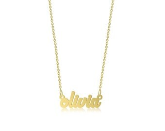 10K Solid Yellow Gold Personalized Custom Name Pendant Rolo Chain Necklace Set - Polished Cursive Alphabet Letter Charm