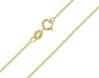 "10K Solid Yellow Gold Rolo Necklace Chain 1.0mm 16-24"" - Round Cable Link"