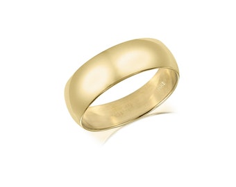 14K Solid Yellow Gold Regular Fit Plain Wedding Band Ring 5.0mm Size 5-13 - Polished