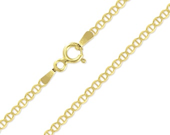 """10K Solid Yellow Gold Mariner Necklace Chain 2.0mm 16-24"""" - Anchor Link"""