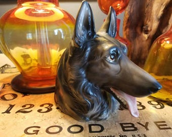 Vintage Inarco Pottery German Shepherd Dog Head Vase