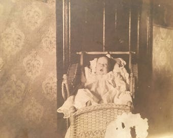 Post mortem baby cabinet card