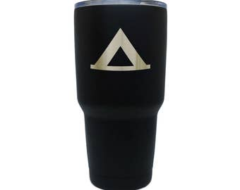 Camping Black Stainless Steel Tumbler, 30 Oz Insulated Tumbler, Laser Etched In Usa