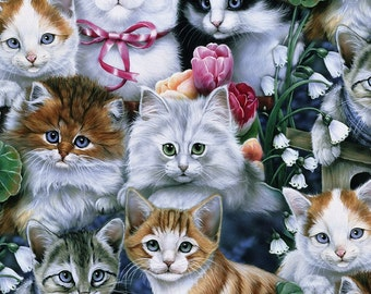 Cats Anti-Pill Fleece Fabric bye the yard /David Textiles/Free shipping available/cat fabric/cat fleece