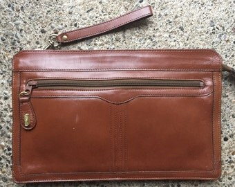 Caramel colored vintage clutch with wristlet strap