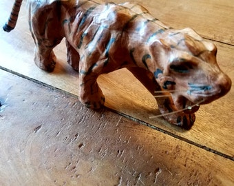 Vintage leather tiger figurine 1950s