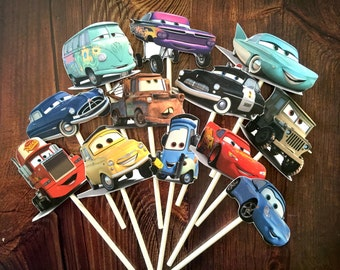 DISNEY CARS Cupcake Toppers / Cake Toppers / Die Cuts / Birthday Party / Decorations / Cake Pops / Supplies / Decor / Scrapbook
