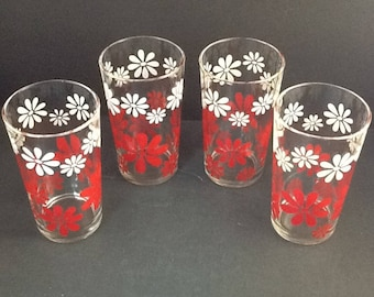 Red n White Mod Daisy Glassware