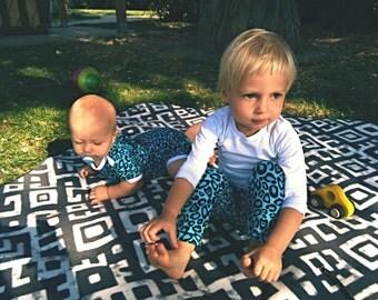 Organic baby leggings - turquoise leopard print