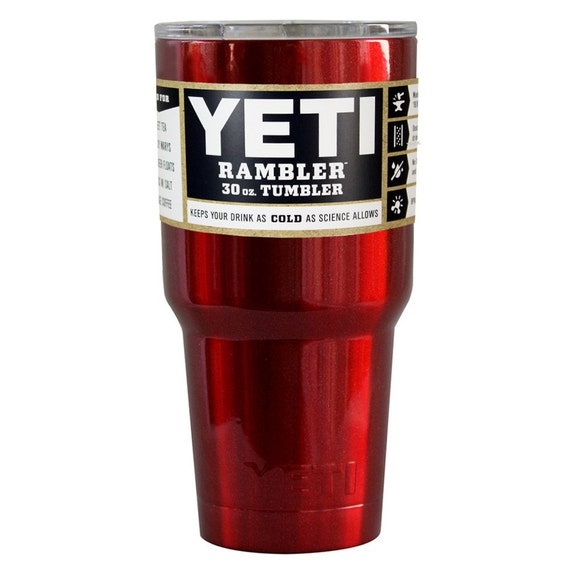 YETI RAMBLER Custom Red Metallic Coated 30 Ounce Yeti Stainless Steel Ready to Ship Fast