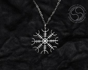 Aegishjalmur Pendant Viking Symbol Stainless Steel Jewelry Helm of Awe Necklace Keychain Logo Emblem Asatru Amulet Talisman Icelandic Sign