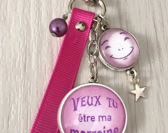 gift message text bag charm Keyring, want you be my godmother pink tone. REF.21