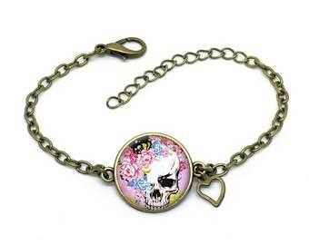 Bracelet * skull* rose, fleurs,  bronze cabochon , ref:3