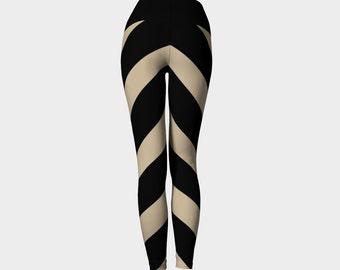 Beige and black stripe yoga leggings, striped yoga leggings, cool leggings, funky leggings, striped leggings, chevron leggings