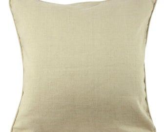 Beige Linen Blend Decorative Pillow 20 Inch, Lumbar