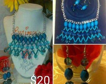 "16"" Blue Bib Necklace Set"